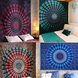 handmade tapestry wall hangings Canada - Wall Hanging Peacock Printed Tapestry Sandy Beach Throw Rug Blanket Camping Tent Travel Mattress Bohemian Sleeping Pad Tapestry CX200630