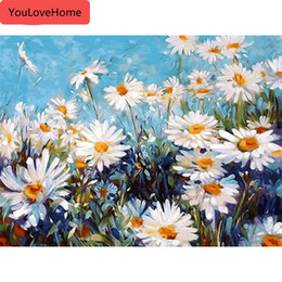 beautiful oil paintings single flower UK - Pictures By Numbers Flowers Kits Drawing Canvas Handpainted Oil Painting Home Decoration Art Diy Gift Beautiful Painting By Numbers