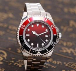 Silver Black Red NZ - Free Shipping Luxury Brand Men Black Red Dial Date Watch Silver Stainless Steel Watch Male Quartz Watches Waterproof Calendar Wristwatch