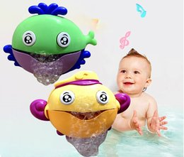 wholesale cartoon soaps Australia - Bubble Machine Crabs Music Light Electric Bubble Maker Baby Kids Outdoor Swimming Bathtub Soap Machine with Music Water Toy Cute