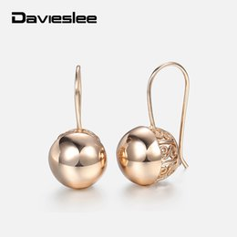 4c0a82616 Davieslee Womens Stud Earrings 585 Rose Gold Filled Round Ball Stud Earring  for Women Fashion Jewelry Snap Closure LGE66