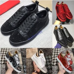 Black white gold party online shopping - HOT Designer Sneakers bottom is red shoe Low Cut Suede spike Shoes For Men and Women Luxury Shoes Party Wedding crystal rivet Sneaker
