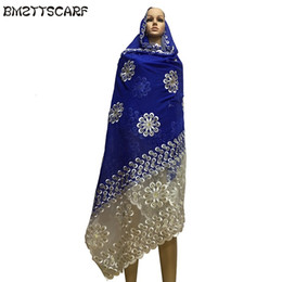 Chinese  New african women scarfs muslim women big embroidery cotton scarf cotton match net embroidery scarf with stones BM591 manufacturers