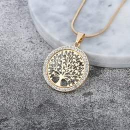 necklaces pendants Australia - Hot Tree of Life Crystal Round Small Pendant Necklace Gold Silver Colors Bijoux Collier Elegant Women Jewelry Gifts Dropshipping