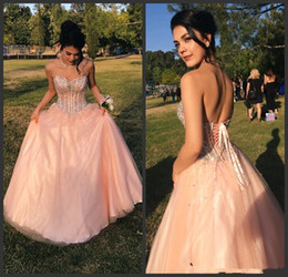 $enCountryForm.capitalKeyWord NZ - Blush Pink Prom Dresses Ball Gown Quinceanera Dresses Sweetheart Beaded Tulle Plus Size Sweet 16 Dress Saudi Arabic Party Gowns B67