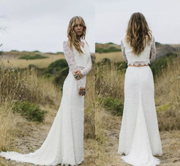 Two piece boho wedding dress online shopping - 2019 Vestido de Noiva Ivory Two Pieces Wedding Dresses Sheer Long Sleeves V Neck Sheath Boho country Wedding Gowns Robe de Mariage