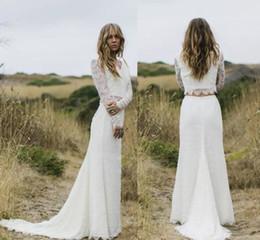 Robe maRiage piece online shopping - 2019 Vestido de Noiva Ivory Two Pieces Wedding Dresses Sheer Long Sleeves V Neck Sheath Boho country Wedding Gowns Robe de Mariage