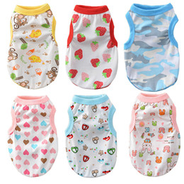 Cheap Clothing Wholesalers Australia - Print Dog Clothes Summer Cotton Cat Dog Vest Small Medium Dogs Pets Clothing Cartoon Cheap Pet Clothes For Dogs Chihuahua York Wholesale