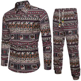 $enCountryForm.capitalKeyWord Australia - Ethnic Style Man Tracksuits Floral Printes Tops 5XL Loose Shirts Long Sleeve Vintage Festival Set Gentleman Streetwear Long Pant
