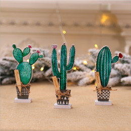 christmas ornament displays Canada - Nordic style Creative Simulation Plant Bonsai Tabletop Wooden Cactus Christmas Decor Home Offfice Desktop Decorations Display