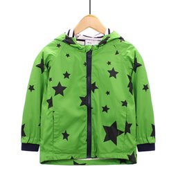 jacket star boy Canada - Kids Jacket Stars Printed Hooded Windbreaker Baby Girl Coat Children Clothing Kids Long Sleeve Outerwear Clothes