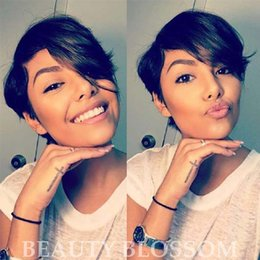 Long Hair Cuts Women Australia - Short Cut little lace human bob wigs best human brazilian cheap wig with baby hair glueless wigs with Long bangs for black women