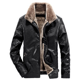Wholesale mens fur lined leather jackets resale online - Winter men Leather Jacket Mens Coats Fur inside Male Motorcycle Jacket and Leather Outwear