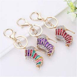 stainless steel heels shoes Australia - Crystal High Heel shoes keychain key rings Metal Mini Shoe Keychains handbag hanging Phone Charms Pendant Girls jewelry