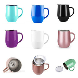 $enCountryForm.capitalKeyWord Australia - 12oz Insulated Mugs With Handle Coffee Cups Tumbler Wine Glass Stainless Steel Double Wall Vacuum Insulated Egg Shaped Cup with Lid