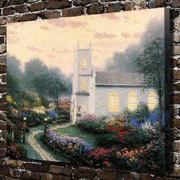 Art Church Australia - Thomas Kinkade,Blossom Hill Church,1 Pieces Canvas Prints Wall Art Oil Painting Home Decor (Unframed Framed) 16x20.