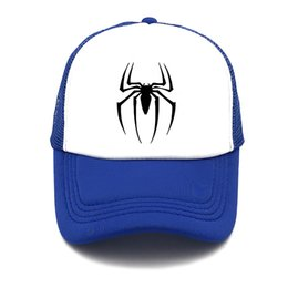 6198a9edc60 spider Man youth Baseball Caps Summer Leisure Adjustable Hats Mesh trucker  hat Fashion men women snapback Mesh cap Visor