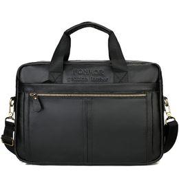 Cowskin Handbags Australia - New Natural Cowskin Men's Bag Handbag Briefcase Brand Design Genuine Leather Men's Shoulder Bag Vintage Business Laptop Bags