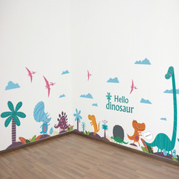 Large Animal Wall Stickers Australia - Large Hello Dinosaur Wall Art Decals DIY Nursery and Kids Room Wall Art Stickers Cartoon Animals Murals Home Decor