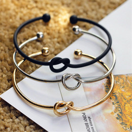 silver knot cuff bracelet NZ - New Fashion Original Design Simple Copper Casting Knot Love Bracelet Open Cuff Bangle Gift For Women Gift charm bracelets Wedding Jewelry