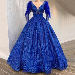 prom dresses for petite short girls Australia - long sleeve Feather royal blue prom dresses Sequins Lace elegant evening formal dress glitz pageant dresses for girls party Prom Gowns