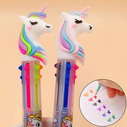 $enCountryForm.capitalKeyWord Australia - Cute 6 Colors in 1 Unicorn Ballpoint Pen Silica Rainbow Kawaii Ball Pen For Kids Gift Creative Student Item Korean Stationery