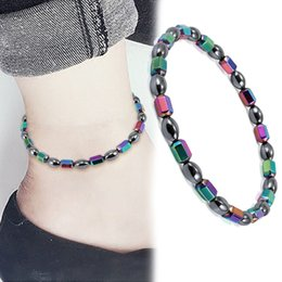 Fashion Bracelets Anklets Australia - Fashion Magnetic Therapy Round Beads Anklet Bracelet Weight Loss Anti-Fatigue Chain Anklet Health Care Anklet Jewelry Accessories