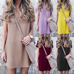 Toptan satış 2018 Yaz Yeni Avrupa Ve Amerika Birleşik Devletleri V Yaka Kısa Kollu Sıska Düz Renk Gündelik Elbise