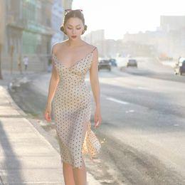 068463f68 Le Palais Vintage Vintage Elegant Dot Silk Spaghetti Strap Dress Audrey  Hepburn 50s60s Women Retro Dress Party Vestidos
