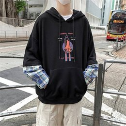 japanese fashion hoodie NZ - Patchwork Hoodies men Japanese fashion cotton long sleeve Hoodie Funny print streetwear Hip Hop Casual Harajuku Sweatshirts Boy