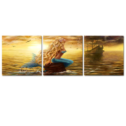 Mermaid Print Canvas Australia - Mermaid Princess Paintings Wall Art Beautiful Mermaid Ghost Ship Picture Print on Canvas 3 Panels Paintings for Living Room Home Decorations