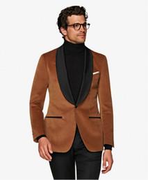 New prom tuxedos online shopping - Brand New Brown Velvet Men Wedding Tuxedos Black Lapel Groom Tuxedos Excellent Men Blazer Piece Suit Prom Dinner Jacket Jacket Pants Tie