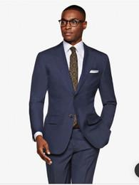 New prom tuxedos online shopping - Brand New Navy Blue Men Wedding Tuxedos Notch Lapel Groom Tuxedos Excellent Men Blazer Piece Suit Prom Dinner Jacket Jacket Pants Tie