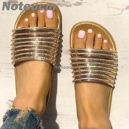 Glass Slippers Shoes NZ - Noteucm women's summer fashion flat shoe slide beach huose female glitter slipper mule shose with Rhinestone glass for women 41
