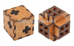 Unisex Wood Toy Australia - 2pcs lot 3d Wood Brain Teaser Iq Game Puzzle Toy For Adults And Kids