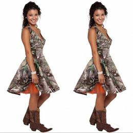 Organza knee length bridesmaid dresses online shopping - Camo Short Cheap Bridesmaid Dresses Halter A line Backless Orange Organza Lining Designer Country Bridesmaids Party Prom Dress
