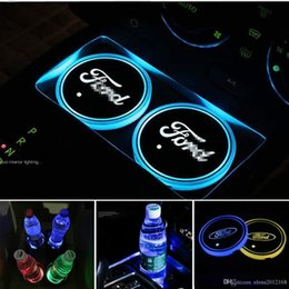 usb coaster Australia - Auto sport 2PCS LED Cup Holder Mat Pad Coaster with USB Rechargeable Interior Decoration Light for Ford