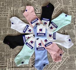 Mens short suMMer socks online shopping - Champions Women Mens Designer Short Socks with Tag Ankle Socks Luxury Summer Slipper Boat Socks Brand Unisex Stockings pair C61305