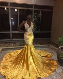 fishtail prom dresses black NZ - 2018 gold mermaid prom dresses for black girls sheer crew neck Appliques Long Fishtail Evening Gowns plus size cheap Formal vestidos festa