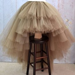 tutu skirts adult layers NZ - Unique Tiered Layers Tulle Skirts Womens Personalized Puffy Asymmetrical Adult Skirt Real Photo Chic Tutu Skirt Faldas Saia Jupe MX190714
