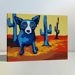 Discount art deco animal - High Quality Handpainted & HD Print Modern Abstract Animal Art Oil Painting Blue Dog On Canvas Wall Art Home Office Deco