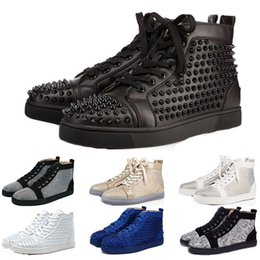 Shoe Brands For Women NZ - 2019 New Designer Brand Studded Spikes Flats shoes Red Bottom shoes for Mens Women Party Lovers Genuine Leather Sneakers 35-46 Free Shipping
