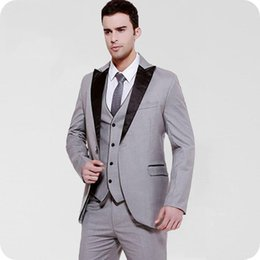 black burgundy wedding tuxedo NZ - Latest Coat Pant Design Groom Tuxedo Grey Men Blazer Suit Wedding Man Jacket Black Peaked Lapel Costume Homme Mariage Groomsmen Suit 3Piece