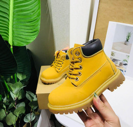 high heeled child shoe 2020 - Free shopping Children Cat Kids Juniors Tire Leather Martin Boots Boy Girl Baby High Quality Classic Yellow Pink Black O