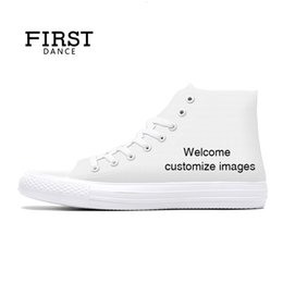 watermelon canvas shoes NZ - FIRST DANCE for Unisex High Top Canvas Casual Custom Printed Youth Solid Color Dropshipping White Shoes LY191210