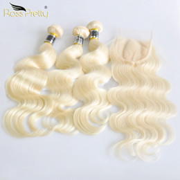 pretty weave Australia - Ross Pretty Remy Blonde Hair Bundles With Closure Peruvian Body Wave Hair Weave 3 Bundles With Lace Closure Color 613MX190918