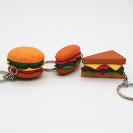 cartoon hamburger NZ - Hamburger Chips Keychain Bag Car Key Chain Bread Popcorn Ice cream Pendant Figure Keyring Birthday Gift Mix 24pcs lot wholesale
