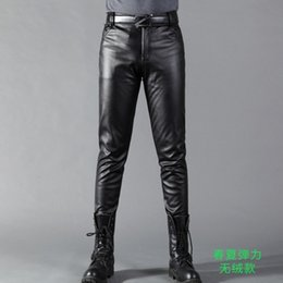 58129f16cca Summer Mens Business Slim Fit Stretchy Black Faux Leather Pants Male Elastic  Tight Trousers PU Leather Shiny Pencil Pants A71002  387492