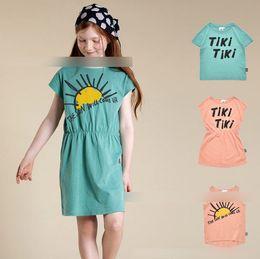 71e7c324f788 INS Girls dress kids letter printed elastic sports casual dress children  round collar short sleeve T-shirt kids sun print vest tops F5800
