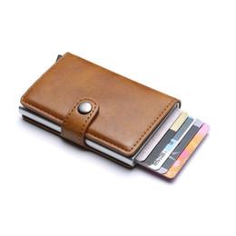 $enCountryForm.capitalKeyWord Australia - Genuine Leather Men Aluminum Wallet Back Pocket ID Blocking Mini Magic Wallet Automatic Coin Purse